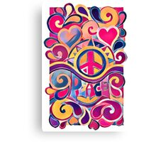 Peace and Love Hippie Retro Art Canvas Print