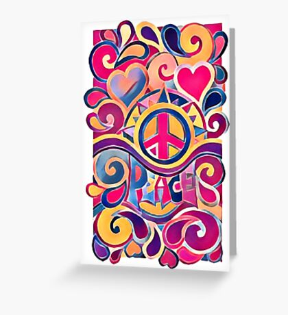 Peace and Love Hippie Retro Art Greeting Card