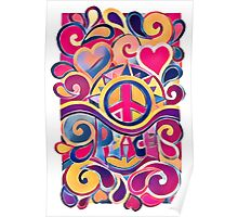 Peace and Love Hippie Retro Art Poster
