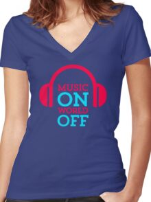 Listen Music Women's Fitted V-Neck T-Shirt