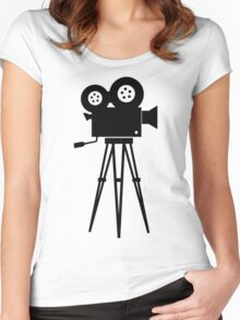 Film Camera Movies Photography Vintage Retro Women's Fitted Scoop T-Shirt