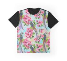 Colorful Flowers & Wild Birds Watercolors Illustration Graphic T-Shirt