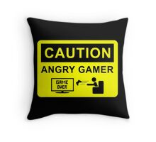 Caution Angry Gamer Throw Pillow