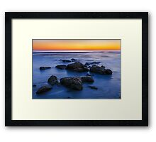 Beach Rocks Sunrise Framed Print