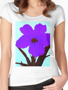 pop flower sapphire blue on turquoise  Women's Fitted Scoop T-Shirt