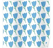 Simple doodle blue tulip pattern. Cute flower seamless background. Summer wallpaper. Poster