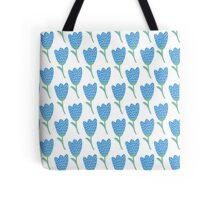 Simple doodle blue tulip pattern. Cute flower seamless background. Summer wallpaper. Tote Bag