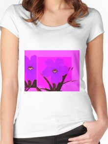 pop flower violet blue Women's Fitted Scoop T-Shirt