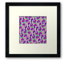 Retro Pink Purple Teal Painted Swirl Pattern Framed Print