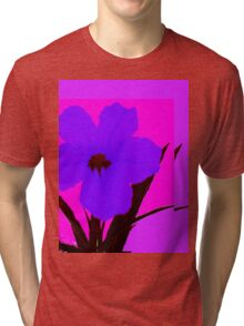 Blue pop flower on Magenta Tri-blend T-Shirt