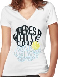 TFIOS Clouds (White/Black Items) Women's Fitted V-Neck T-Shirt