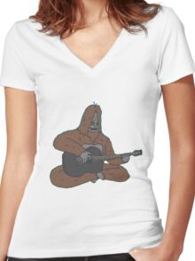 Sassy with a guitar Women's Fitted V-Neck T-Shirt