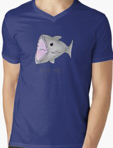 Funny Shark Bite Me Mens V-Neck T-Shirt