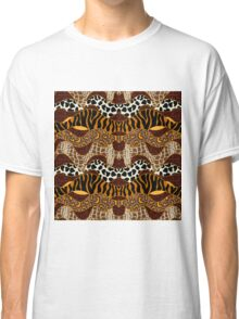 Seamless wavy vector pattern with animal prints.  Classic T-Shirt