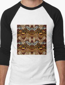 Seamless wavy vector pattern with animal prints.  Men's Baseball ¾ T-Shirt