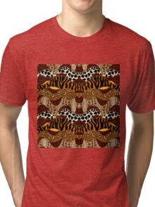 Seamless wavy vector pattern with animal prints.  Tri-blend T-Shirt