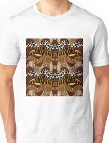 Seamless wavy vector pattern with animal prints.  Unisex T-Shirt