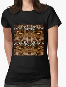 Seamless wavy vector pattern with animal prints.  Womens Fitted T-Shirt