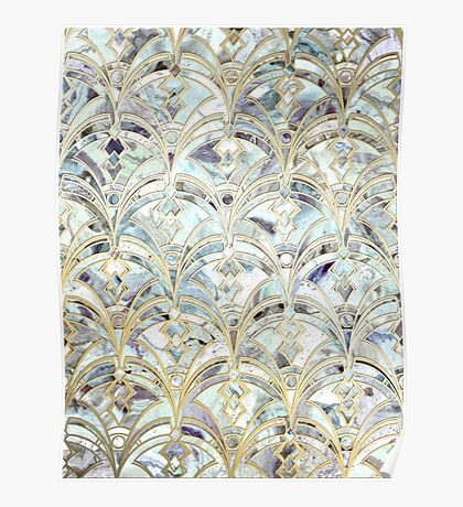 Pale Bright Mint and Sage Art Deco Marbling Poster