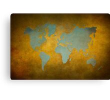 World map gold green Canvas Print