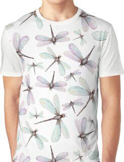 Watercolor Romantic Dragonflies Graphic T-Shirt