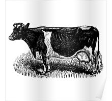Vintage Cow on grass.  Woodcut Style Poster