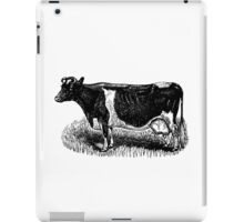 Vintage Cow on grass.  Woodcut Style iPad Case/Skin