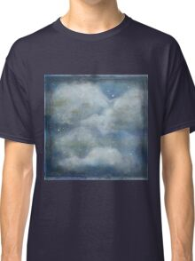 Rustic clouds and blue sky. Hand painted,modern,trendy,contemporary art Classic T-Shirt