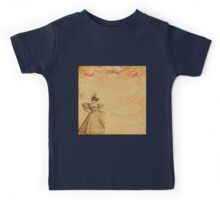 Rustic,old fashioned,victorian,collage,grunge,worn,old,parchment,floral,roses,elegant lady Kids Tee
