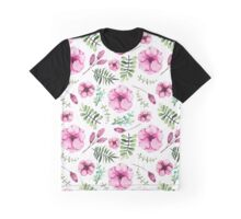 Watercolor Pink Flowers,Green and Blue  Leaves Graphic T-Shirt