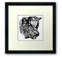 Vintage Cattle Head - Small horns - woodcut style Framed Print