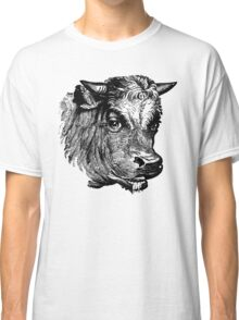 Vintage Cattle Head - Small horns - woodcut style Classic T-Shirt