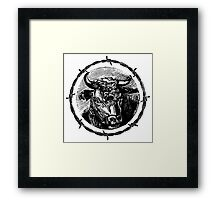 Vintage Cattle Head in Barb Wire frame - Woodcut Framed Print