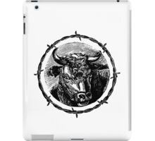 Vintage Cattle Head in Barb Wire frame - Woodcut iPad Case/Skin