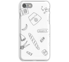 Milk Eggs and Bread Ink Pattern iPhone Case/Skin