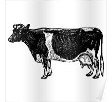 Vintage Cattle Side View (no grass) woodcut style Poster