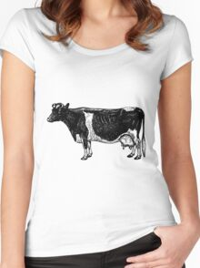Vintage Cattle Side View (no grass) woodcut style Women's Fitted Scoop T-Shirt