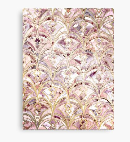 Dusty Rose and Coral Art Deco Marbling Pattern Canvas Print
