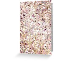 Dusty Rose and Coral Art Deco Marbling Pattern Greeting Card