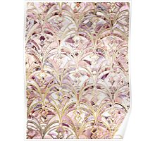Dusty Rose and Coral Art Deco Marbling Pattern Poster