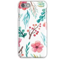 Watercolor Red Flowers, Berries and Blue Leaves iPhone Case/Skin