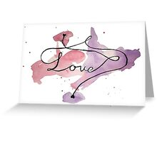 Love watercolour writing with hearts Greeting Card