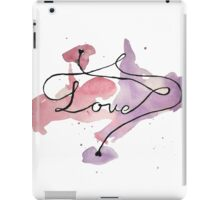 Love watercolour writing with hearts iPad Case/Skin