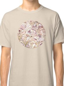 Dusty Rose and Coral Art Deco Marbling Pattern Classic T-Shirt