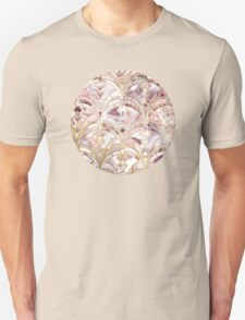 Dusty Rose and Coral Art Deco Marbling Pattern Unisex T-Shirt