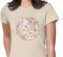 Dusty Rose and Coral Art Deco Marbling Pattern Womens Fitted T-Shirt