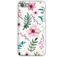 Watercolor Light Pink Flowers, Berries and Blue Leaves iPhone Case/Skin