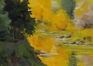 Reflecting Fall - Daily quick study painting by Karen Ilari
