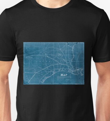 0315 Railroad Maps Map exhibiting the fixed location of the main trunk of the New-Orleans Opelousas Great Western Railroad of Louisiana together with its proposed branches Inverted Unisex T-Shirt