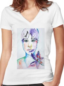 Girl with Flower  Women's Fitted V-Neck T-Shirt